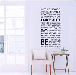 Chinese  English Words In This House DIY Wall Stickers Adornment Glass Vinyl Home Wallpaper Decor Pegatinas De Pared For Kids Room Gift manufacturers