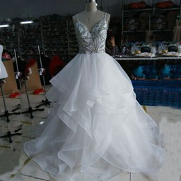 Criss Cross Organza Wedding Dresses NZ - Real Image High Quality Wedding Dress A Line Spaghetti Straps Colorful Crystals Criss Cross Backless Luxury Ruffles Bridal Gowns Sweep Train