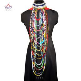 BRW 2018 Africano Ankara Collar de Tela de Impresión de Cera Collar de Colorido Chal Africano Ankara Joyería Tribal Hecha A Mano WYB084 en venta