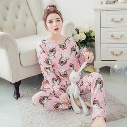 Discount cute carton animals - New Listing Hot Sale Autumn Pyjamas Women Carton Cute Pijama Pattern Pajamas Set Thin Pijama Mujer Sleepwear Pajama Whol