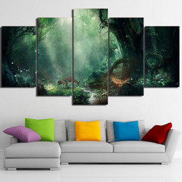 55b1b82b1c9 Canvas Pictures Home Decor Framework 5 Pieces Fresh Magic Forest Paintings  HD Prints Deers Poster Modular Living Room Wall Artwork
