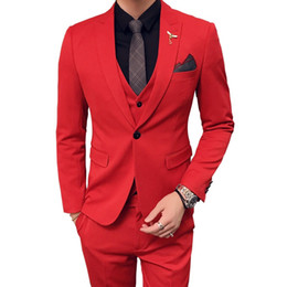 мужские белые красные костюмы оптовых-Mens Wedding Suits Red Suits Mens Oranje Pak Heren Royal Blue Party DJ Stage Costume Terno Slim Fit White Tuxedo