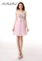 $enCountryForm.capitalKeyWord NZ - Elegant Dress V Neck With Beading A Line Mini Short Pink Tulle Party Formal Evening Dresses Women Short Prom Dress