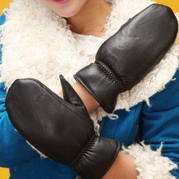 Men Gloves Leather Sheepskin Australia - 2015 Russia Italian Iceland napper super warm lady Women berber fleece winter thick sheepskin genuine leather gloves mittens