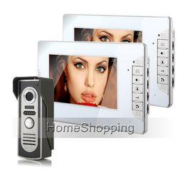 free video phone 2019 - Brand New 7 inch Color Screen Video Intercom Door Phone 700TVL Door Bell Camera + 2 White Monitors Unlock System FREE SH