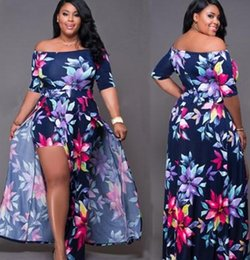 summer plus size cloths Canada - 2018 Woman Sexy Dress Off Schouder Floral Party Short Sleeve Bodycon Cloth High Split Party Club Dress Plus Size