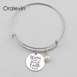 wholesale faith bracelets Australia - WORRY ENDS WHEN FAITH BEGINS Inspirational Hand Stamped Engraved Custom Charm Pendant Wire Bracelet Bangle Gift Jewelry,10Pcs Lot, #LN2432B