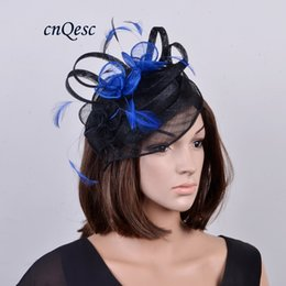 Exclusives Hats Canada - NEW ARRIVAL exclusive design fashion Sinamay fascinator hat with feathers for Kentucky derby,wedding,races,party,church