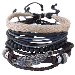 $enCountryForm.capitalKeyWord Canada - Punk Retro Vintage Weave Rope Leather Beads Feather Angel Wing Statement Multilayer Bangles Charm Bracelets Lovers Accessories Jewelry set