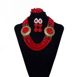 Toptan satış 6 iplikçik Crimson Kristal Boncuk Kolye Düğün Afrika Boncuk Takı Seti Kadınlar için Nijeryalı Gelin Boncuk Takı Ücretsiz Kargo SHP621-1