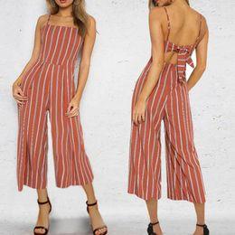 ebe5b5b0d69 20187 Sexy Camisole Jumpsuit 2018 Summer Women Ankle-Length Pants Bodysuits  Stripe Fashion Higt Waist Rompers Womens Jumpsuit
