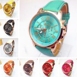 Luxo genebra relógios de pulso 45g das mulheres dos homens numerais romanos pulseira de couro pu relógio de quartzo pulseira de esportes casual business casal relógio de pulso