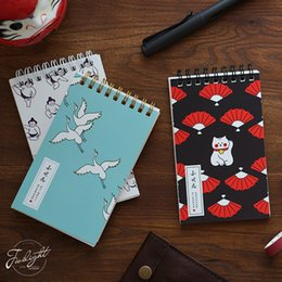 notebook hardcover 2019 - Japanese series note pad Kawaii cat sumo crane Mini coil notebook memo planner journal Stationery office School supplies