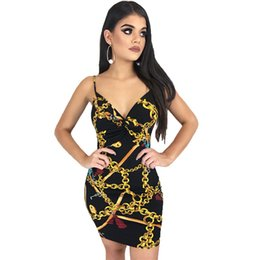 8b0f9aad9af2 3D Golden Chain Mini Dress Deep V Tight Package Hip Sling New Hipster Low  Cut Women s Sexy Nightclub Dress