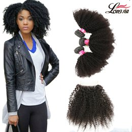 kinky weave bundles closure 2019 - Peruvian Arfo kinky Hair Weave Bundles With Closure free Part 100% Human Hair 3 Bundles With Lace Closure afro kinky cur