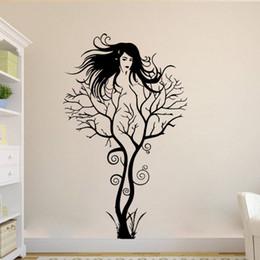 wall stickers sexy girls UK - Free shipping Black Color Naked Woman Portrait Posters Creative Sexy Girl Tree Removable Wall Sticker Sofa And Study Room Background Sticker
