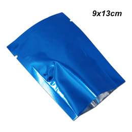 bags foods Australia - 9x13cm Blue Open Top Food Grade Aluminum Foil Vacuum Heat Sealing Packaging Bags for Dried Nut Tea Mylar Foil Vacuum Heat Seal Packing Pouch