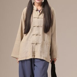 Plus Size Linen Suit Canada - LZJN Women Blouse 2018 Spring Autumn Long Sleeve Tang Suit Traditional Chinese Top Mandarin Collar Solid Linen Blouse Plus Size