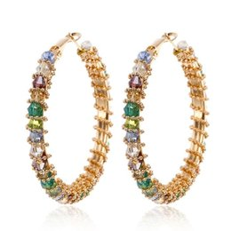 Vintage copper hoop earrings online shopping - Europe and America Hotsale Luxury Women Earrings Vintage Yellow Gold Plated Colorful CZ Earrings Hoops for Girls Women for Wedding Party