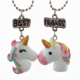 Wholesale Best Friends Pendant Necklaces Cute Children Jewelry BFF unicorn necklace Simulation Resin Enamel Cartoon Necklaces Animal Series