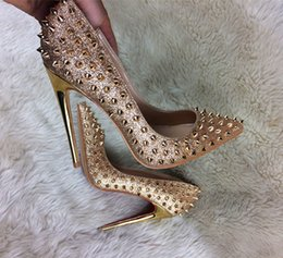 Red Bottom Silver Shoes Canada - Glitter Spikes Women Summer red bottom Shoes Studded Rivets Silver Gold Heels Shoes Women large size 34-44 stiletto shoes
