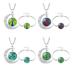 $enCountryForm.capitalKeyWord NZ - Peacock Necklaces and bracelets Peacock Feathers Pendant Art Photo Jewelry Glass Cabochon Fairy Tale Pendant Fantasy Jewelry