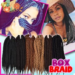 $enCountryForm.capitalKeyWord NZ - 12 18 22 inch Box Braids Crochet Braids 12 Strands Synthetic Burgundy Crochet Hair Extension 1 pack lot
