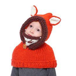 Wholesale Cute Beanies NZ - Winter Kids Warm Owl Cute Fox Design Hat Knitted Hood Scarf Beanies Fox cape cap child cap cartoon fur Hat winter