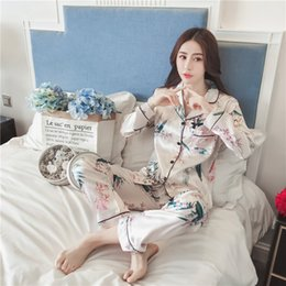 32512ccc2e New Autumn Plus Size 5XL Pajamas sets Women Homewear Sexy Underwear Pyjamas  Silk Satin Long Sleeve Femme Sleepwear Nightwear