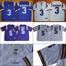 ee02f110a NCAA LSU Tigers College Football Jerseys 3 Odell Beckham Jr. 5 Derrius  Guice Hot Sell Game Jersey Purple White Sec Stitched Adult