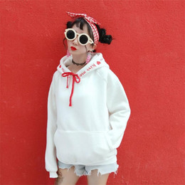 2018 clothes japan 2018 Women's Tunic Japan Harajuku Ulzzang Embroidery Hooded Velvet Ladies Clothes Retro Female Korean Kawaii Cute Top For Women clothes japan on sale