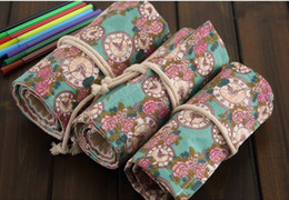 $enCountryForm.capitalKeyWord Australia - wholesale free shipping pencil case 30pcs\lot Rose clock hand-painted canvas bag with large capacity art - colored lead bag027