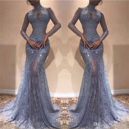 lace see through 2019 - Gorgeous Zuhair Murad Full Lace Evening Dresses 2018 High Neck Mermaid Illusion Long Sleeves See Through Prom Dresses La