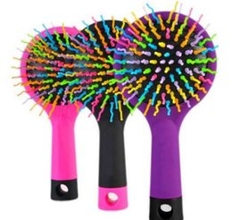 Discount magic straight hair - 1 Piece Hot Selling Rainbow Volume Anti-static Magic Hair Curl Straight Massage Comb Brush Styling Tools With Mirror