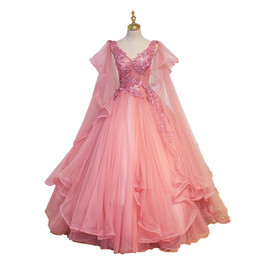 Chinese  luxury wave sleeve pink fairy embroidery ball gown medieval dress cartoon princess Medieval Renaissance Gown queen cosplay Victoria dress manufacturers