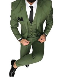 Business Men Suit Terno Green Men Suits 3 Piece Slim Fit Tuxedos Custom Prom Blazer Terno Masculino(jacket+pants+vest)