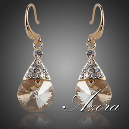 AZORA Gold Color Gold Round Stellux Austrian Crystal Drop Earrings TE0057 2a9b955c2aa5