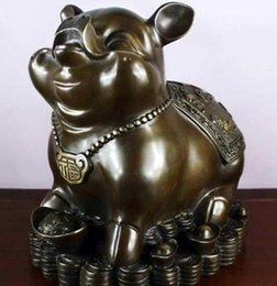 $enCountryForm.capitalKeyWord NZ - Chinese Fengshui bronze Copper Zodiac Year Pig Yuanbao Coin Money Wealth Statue