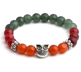 Bangles india online shopping - Colorful Bracelets For Women Tibetan Silver Owl Beaded Bracelets Charms Bangles Vintgae India Bead Jewelry Hot Sell Bangle