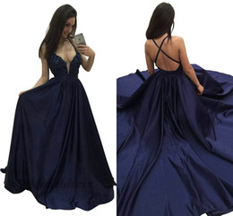vintage t straps Australia - Sexy Backless Prom Dresses Navy Blue Criss-cross Back Spaghetti Straps Lace Appliques Tops A Line V Neck Formal Evening Gowns Party Dress