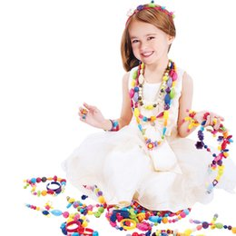 Kids Craft Making UK - DIY Beaded Bracelets Creative Jewelry Making Kit Necklace Art Crafts Educational Snap Beads Toy For Girls J