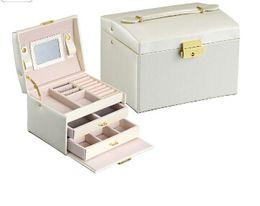 korean mirror box 2019 - Jewelry Watch Storage Box 3 Layers Earring Rings Organizer With Mirror Drawer Leather Princess Necklace Bracelet Storage