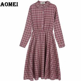 Autumn Dress for Retro Plaid Women Shirts Dresses Gingham Preppy Style Mori  Girls Cute Casual Button Wear Dresses Tunics Clothes ff5869215d05