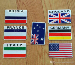 Wholesale Fashion Car Styling National Flag D Metal Chrome Aluminium Alloy Emblem Badge Sticker For American Australia France Germany England Italy