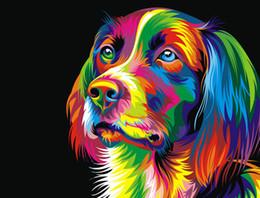 $enCountryForm.capitalKeyWord Australia - Modern Home Decor Prints Colorful Dog Animal Oil painting High Quality Printed on Canvas art wall poster painting for Living Room Decor