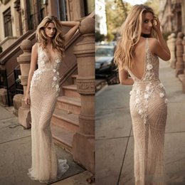 China Berta Sexy 2018 Mermaid Illusion Wedding Dresses V Neck Backless Plunging Neckline 3D-Floral Appliques Beads Custom Made Bridal Gowns cheap wedding dresses plunging necklines suppliers