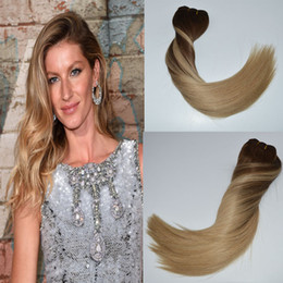 "Remi Straight Hair Extension Australia - Ombre Human Hair Clip in Remi Hair Extensions Color Medium Brown to Ash Blonde #4 Fading to #18 Silky Straight 14""-24"" 120g"