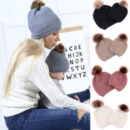 69b19e320aa Fashion Family Matching Hat Mom Kids Knitted Beanies Girl Hat With Pompom  Kid Girls Boys Caps Children s Hats Winter Warm Hats