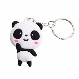 China 1pc Cute Cartoon Panda Keychain Keyring Bag Pendant Silicone Animals Panda Handbag Key Ring Chain Women Girls Gift suppliers