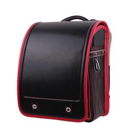 Boy black Backpack For Children Orthopedic School Bag Japanese waterproof PU  Hasp Solid High Quality Kid Randoseru For 1-3 Grade fdca4df731